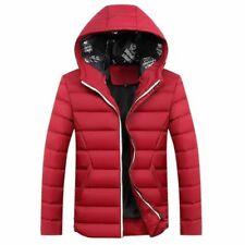 New Men Winter Warm Coat Jacket Hooded Casual Overcoat  Red #3