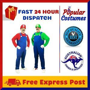 Mens Super Mario Luigi Brothers Fancy Dress Up Party Costume + Hat + Moustache
