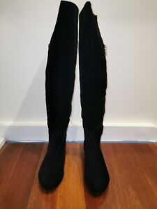 Novo Black Knee High flat Boots Size 6 37 Suede look. Winter fashion NEVER WORN