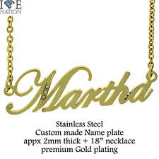 """Custom Made Martha Name Stainless Steel Gold Plated Pendant w/18"""" Necklace new"""