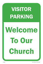 """Welcome To Our Church Parking Sign, 12""""w x 18""""h, PVC Full Color"""