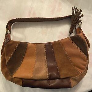 FOSSIL Patchwork Multi Brown Leather Suede Handbag Shoulder Hobo Boho Medium Bag