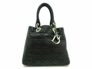 Authentic Christian Dior Lady Dior Cannage Hand Bag Lambskin Leather Black 90490