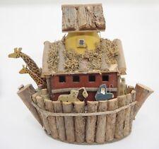 Noahs Ark Bird House Handmade w Sticks and Wood Cut Out Animals Giraffes 12x12