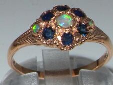 Luxury 9ct Rose Gold Ladies Fiery Opal & Sapphire Vintage Style Cluster Ring