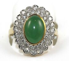 Gumps Oval Green Jadeite Jade & Diamond Halo Ring 18k Yellow Gold 3.80Ct