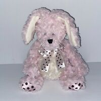"""Pier 1 Bunny Rabbit Trixie Plush 10"""" Pink White Brown Polka Dot Ribbon Imports"""