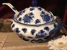 "Cracker Barrel Blue & White Floral Covered Tureen & Ladle 12""x9"""