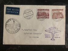 1937 Warsaw Poland First Flight Cover FFC to Jerusalem Palestine