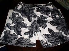 OLD NAVY Men's Sz S  Floral Black Hawaiian Print Swim Shorts Bathing Suit - EUC