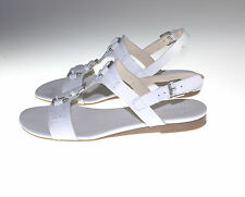 Franco Sarto Leather T-strap Sandals with Buckles - Gili 9 MEDIUM WHITE PO