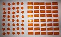 NEW LEGO TILES-40 Round 1 x 1 Trans Orange -40 1x2 Tiles Groove Lot Of 80 Total