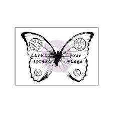 """Dare to spread your wings"" BUTTERFLY Finnabair Stamp 57x40mm Wood Mounted Prima"