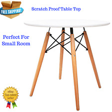 Small Dining Table Rubber Wooden Legs Dinner Coffee Side Table Unit White NEW