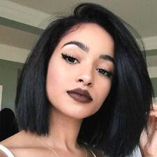 Glueless Malaysian Remy Human Hair Lace Front Wig Medium Bob Straight Full Wig #