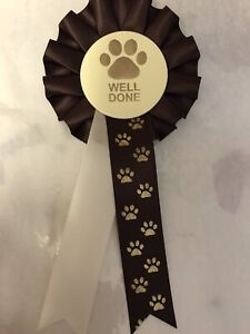 10 X Well Done Paw Print Rosettes