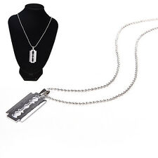 Men Favorite Stainless Steel Razor Blade Pendant Fashion Ball Chain Necklace UK