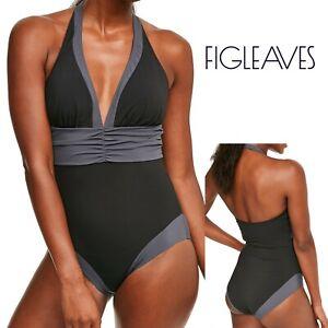 Figleaves Edge Colourblock Halter Plunge Shaping Swimsuit 137105 Black/Grey