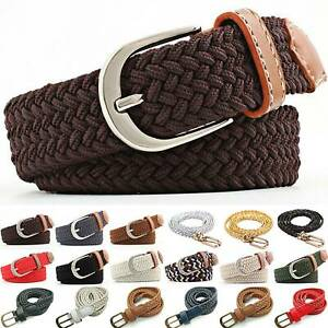 Ladys Elastic Stretch Woven Braided Belt Pin Buckle Webbing Jeans Waistband Hot