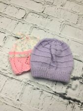 Baby Girl's Bundle Set of 2 Knitted Hats Purple Pink Mix 0-3 Months