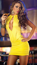 Sexy Size Medium Yellow Halter Backless Bodycon Club Wear Mini Dress! New!