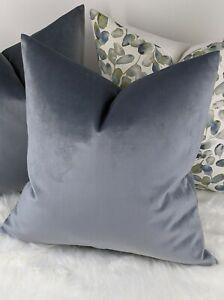 """John Lewis Luxury Knitted Velvet Fabric Handmade Cushion Cover Thistle Blue 16"""""""