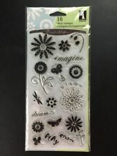 Garden Words 97722 Inkadinkado 18pc Clear Stamp Set Flowers Plants Free Shipping