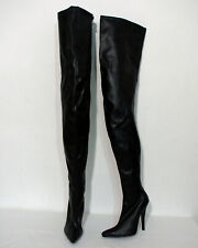COURTLY-3017 Pleaser High-Heels Overkneestiefel asymetrischer Schaft schwarz
