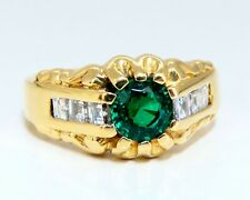 GIA Certified Natural Non Enhancement Green Emerald Mens Ring 18Kt