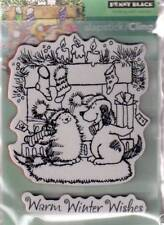 New Cling Penny Black RUBBER STAMP WARM WINTER WISHES CAT DOG  free us shp