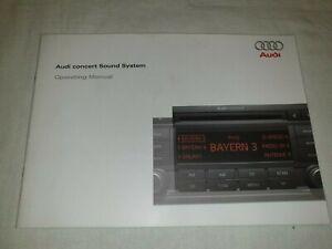 AUDI CONCERT SOUND SYSTEM  OPERATING MANUAL / HANDBOOK. PRINT DATE 05/2008