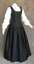 Black Renaissance Bodice Skirt Chemise Cosplay Medieval Pirate Gown Dress Medium