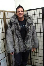 NEW SILVER FOX FUR BOMBER JACKET FOR  MEN SIZE ALL