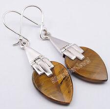 "925 PURE Silver BROWN TIGER'S EYE Flat Drop GEMSTONE BALLWIRE Earrings 1.8"""