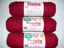 Lot of 3 Skeins Sayelle 100% Orlon Acrylic 4-ply Yarn 4oz. each--Color-Cardinal