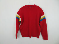Vintage Retro 1960's Sears Ted Williams Knit Wool Sweater Red Striped Mens L