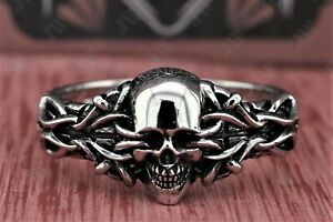 Gothic Skull Wheel Shape Men's Biker Ring Oxidized In 925 Sterling Silver