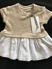 Bellybutton (Germany) NWT Organic Cotton Tan & White Dress- Newborn