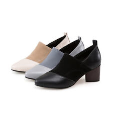 Women Low Top Ankle Boots Colorblock Shoes Chunky Heel Casual Faux Suede Booties