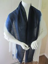 NWT Chico's Vibrant Ombre Straight Oblong Scarf/ Wrap- Navy/ White, Wool/Silk
