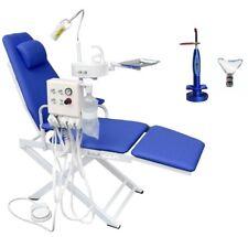 Dental Mobile Chair Unit Blue + Turbine Unit + Lamp + Waste Basin + Curing Light