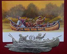 Flachfigur French and Indian War Trapper Indianer Kanu Zinnfigur schöne Gravur