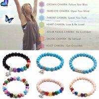 7 Chakra Natural stone Bracelet Bangle 7mm Beaded Turquoise Elastic Rope Women