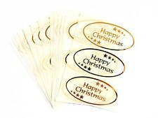 Happy Christmas Adhesivos Dorado Brillante en Transparente - Etiquetas