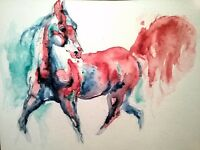 """Horse running Art painting.Signed watercolor painting equine,equestrian art 7x5"""""""