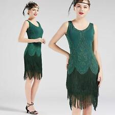 US STOCK Vintage 1920s Green Unique Flapper Dress 20s Great Gatsby Fringe