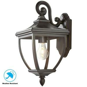 """1-Light Oil-Rubbed Bronze Outdoor 8"""" Wall Lantern Sconce with Clear Glass"""