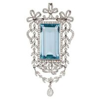 Simulated Aqua Emerald 925 Sterling Silver Brooch Pin Halo Vintage CZ Jewelry