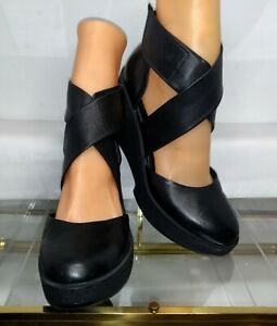 Robert Clergerie Platform Black Leather Wedge Shoes Ankle Cuff Women's Size 8
