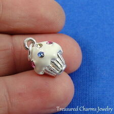 Silver and Enameled VANILLA CUPCAKE CHARM with CZ Crystal SPRINKLES *NEW*